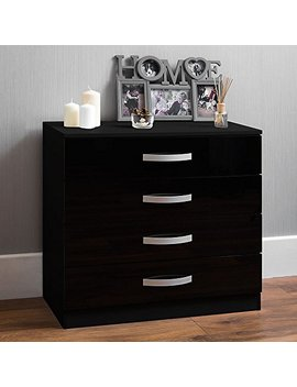 Home Discount Hulio High Gloss Chest Of Drawers Black, 4 Drawer With Metal Handles & Runners, Unique Anti Bowing Drawer Support, Bedroom Furniture by Home Discount