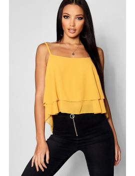 Woven Double Layer Cami Top by Boohoo