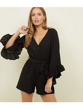 Black Crepe Frill Sleeve Playsuit by New Look