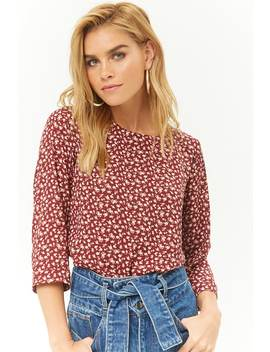 High Low Rose Print Top by Forever 21