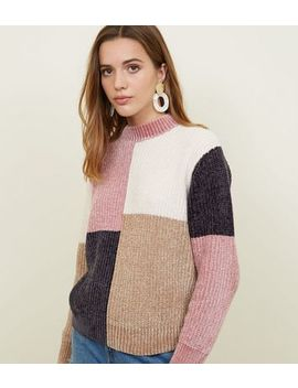 Multi Colour Chenille Colour Block Jumper by New Look