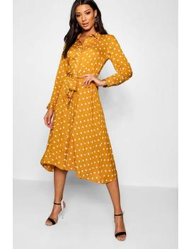 Woven Midi Shirt Dress Spot Print by Boohoo