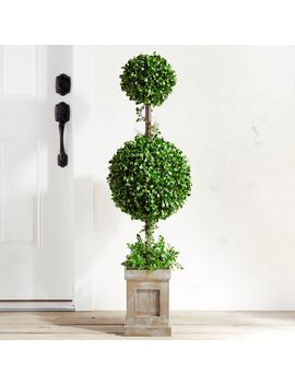 "Outdoor Faux Boxwood Double Ball 48"" Topiary by Pier1 Imports"