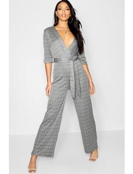 Prince Of Wales Check Wrap Front Jumpsuit by Boohoo