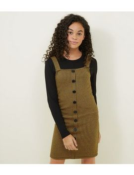 Girls Yellow Houndstooth Pinafore Dress by New Look