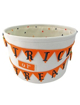 Trick Or Treat Halloween Fabric Candy Basket White   Hyde And Eek! Boutique™ by Shop This Collection