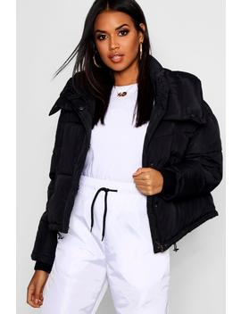Crop Funnel Neck Puffer by Boohoo
