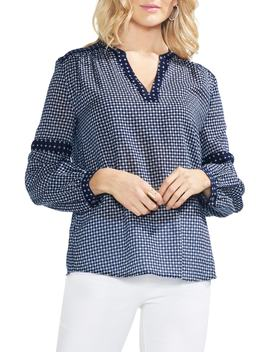 Mirror Foulard Peasant Blouse by Vince Camuto