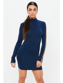 Navy High Neck Stripe Bodycon Dress by Missguided