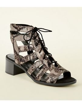 Stone Faux Snakeskin Low Heel Ghillie Sandals by New Look