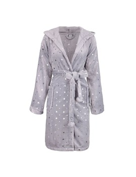 Women's Luxurious Hooded Solid Flannel Fleece Bathrobe With Side Pockets by Generic