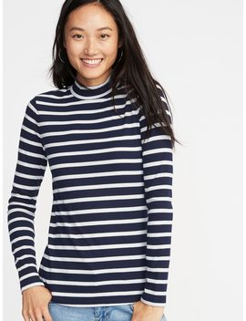 Slim Fit Rib Knit Mock Neck Tee For Women by Old Navy