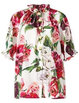 Peony Print Mandarin Collar Shirt by Dolce & Gabbana