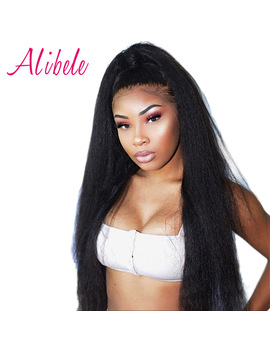 Alibele Hair Brazilian Kinky Straight Wigs With Baby Hair Remy 13x4 Lace Front Human Hair Wigs For Women Black 180 Percents Pre Plucked by Alibele