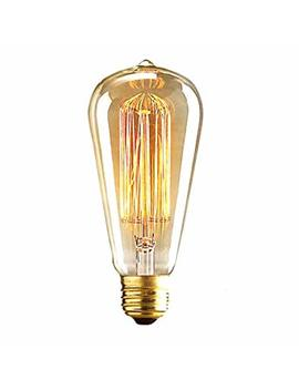 Alk E26 E27 60 W St64 Vintage Edison Tungsten Filament Incandescent Bulb Squirrel Cage Retro Clear Glass Light For Bar Home Party Lighting Source (St64,60 Watts) by Alk
