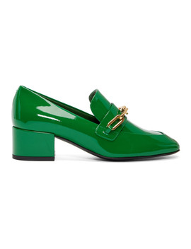 Green Patent Chillcot Heeled Loafers by Burberry
