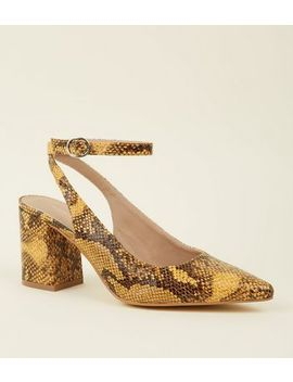 Mustard Faux Snakeskin Block Heel Slingbacks by New Look