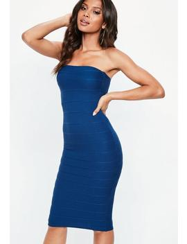 Blue Bandeau Bandage Midi Dress by Missguided