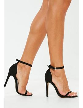 Black Barely There Heeled Sandals by Missguided