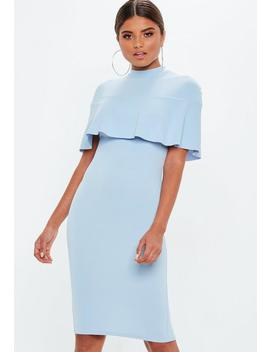 Powder Blue Frill Overlay Shoulder Midi Dress by Missguided
