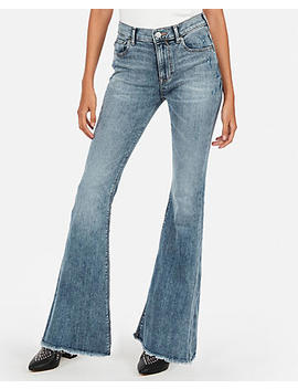Mid Rise Stretch Raw Hem Bell Flare Jeans by Express