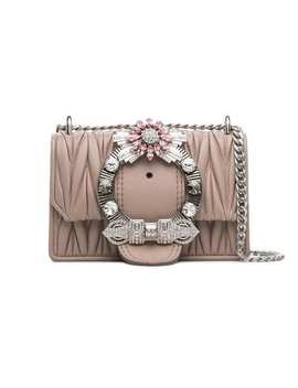Rose Lady Crystal Buckle Matelassé Leather Shoulder Bag by Miu Miu