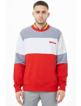 Wilson Striped Colorblock Logo Sweatshirt by Forever 21