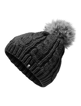Big Girls Cable Knit Hat With Faux Fur Pom Pom by The North Face