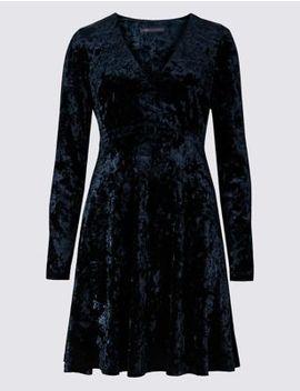 Velvet Long Sleeve Swing Dress by Marks & Spencer