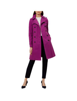 Hobbs London Saskia Trench Coat, Dark Magenta by Hobbs