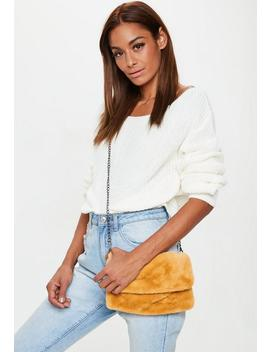 Yellow Faux Fur Cross Body Bag by Missguided