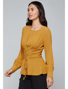 Lace Up Waist Top by Bebe