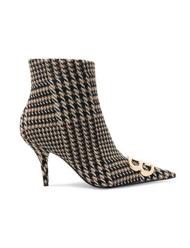 Logo Embellished Prince Of Wales Tweed Ankle Boots by Balenciaga
