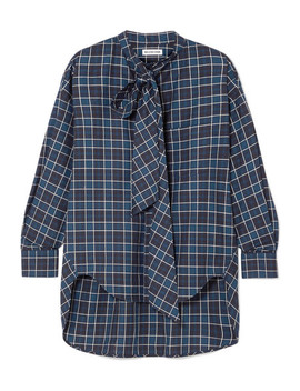 New Swing Checked Cotton Flannel Shirt by Balenciaga