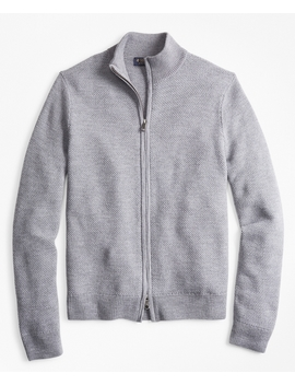 Honeycomb Stitch Full Zip Cardigan by Brooks Brothers
