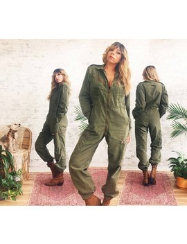 Vintage 1970's Military Jumpsuit || Deadstock || Army Workwear Coveralls || Flight Suit || Safari Suit || Army Green || Size Xs/S Or Medium by Etsy