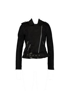 Faux Suede Biker Jacket by Boohoo