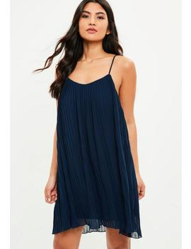 Navy Strappy Pleated Swing Dress by Missguided