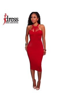 I Dress Women's Vestidos Bandage Dress Cotton 2017 Summer Zipper Back Knee Length Midi Bodycon Dress Dinner Sexy Party Dresses by Hambelela
