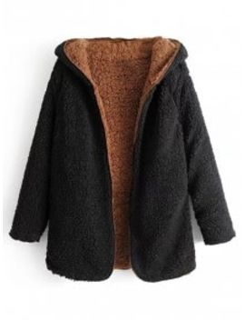 Hooded Open Front Lamb Wool Coat   Black L by Zaful