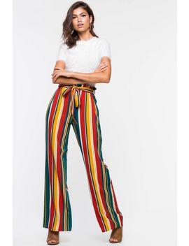 Donna Multi Stripe Paperbag Wide Leg Pant by A'gaci