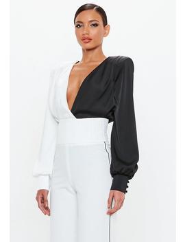 Peace + Love Black Satin Colour Block Bodysuit by Missguided