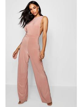Side Boob Slinky Jumpsuit by Boohoo