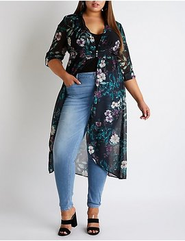 Plus Size Floral High Low Button Up Top by Charlotte Russe