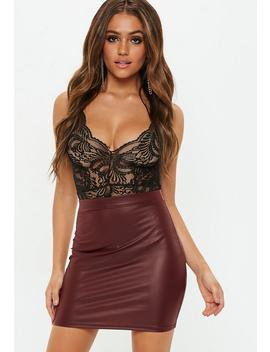 Burgandy Matte Pu Mini Skirt by Missguided