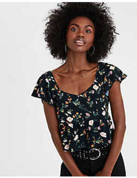 Ae Cropped Ruffle Sleeve Blouse by American Eagle Outfitters