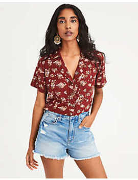 Ae Cropped Button Up Blouse by American Eagle Outfitters