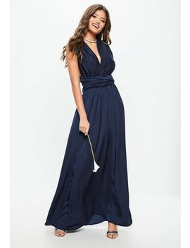Bridesmaid Navy Satin Multiway Maxi Dress by Missguided