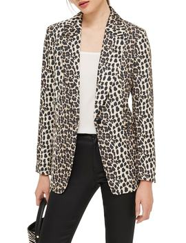 Leopard Print Suit Jacket by Topshop
