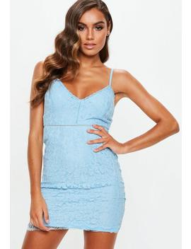 Blue Strappy Lace Mini Dress by Missguided